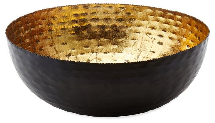 "18"" Hammered Nesting Bowl, Black/Gold"