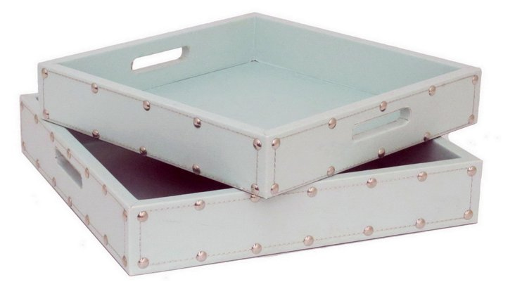 Asst. of 2 Square Studded Trays, Sky