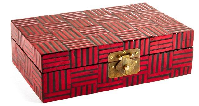 "11"" Decorative Wood Box, Red"
