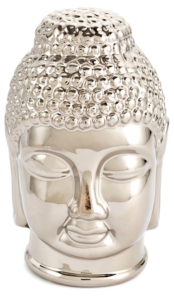 """8"""" Ceramic Buddha Sculpture, Silver"""