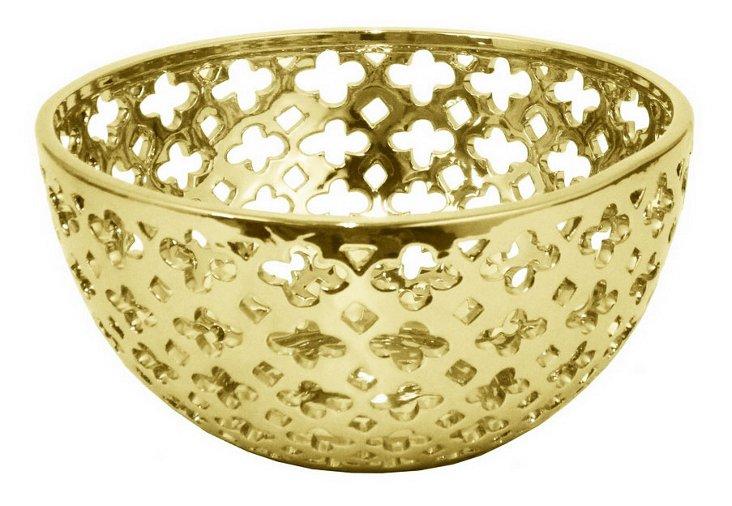 "11"" Pierced Ceramic Bowl, Gold"