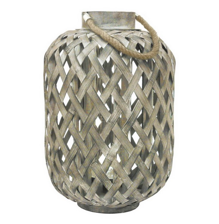 "21"" Bamboo Lantern, Light Gray"