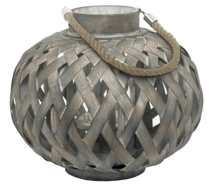 "14"" Bamboo Lantern, Gray"