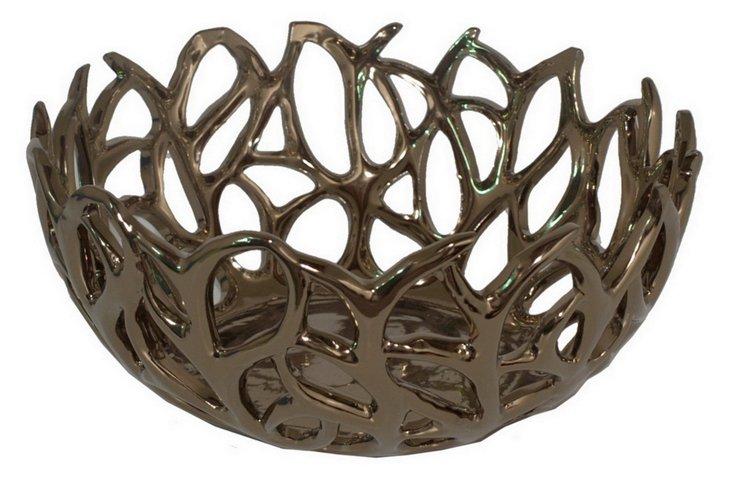 """14"""" Branch Bowl, Bronze"""