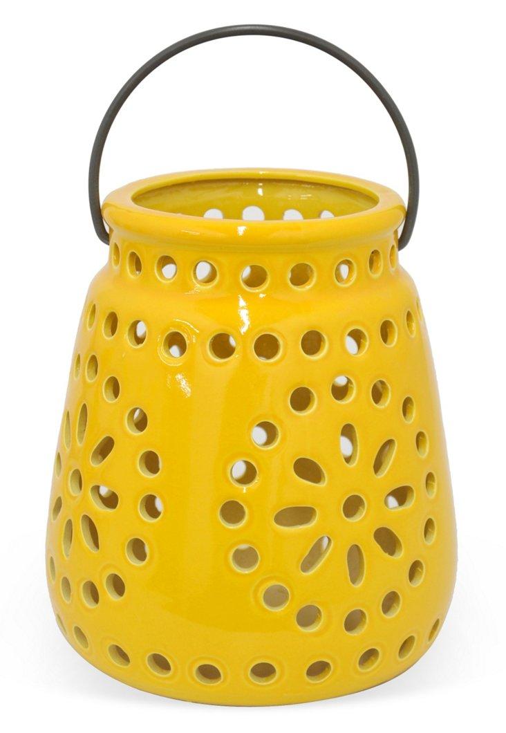 """9"""" Cutout Lantern, Yellow"""