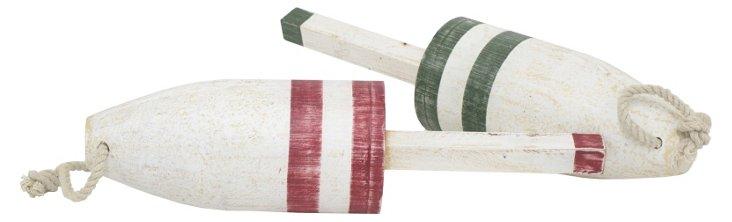 Asst. of 2 Wooden Floats, White