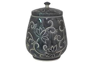 "15"" Ceramic Jar with Lid, Blue"