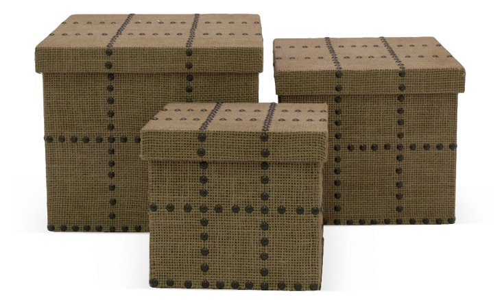 Asst. of 3 Burlap Studded Box