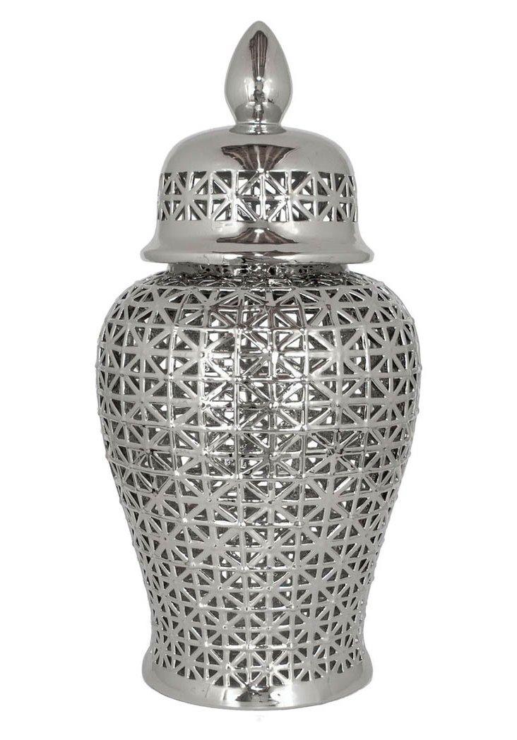 "34"" Plated Ceramic Temple Jar"