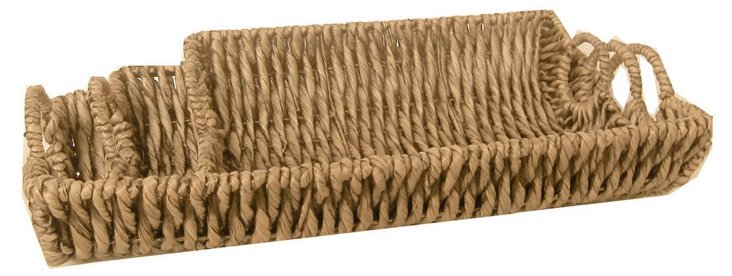 Asst. of 3 Woven Trays, Brown