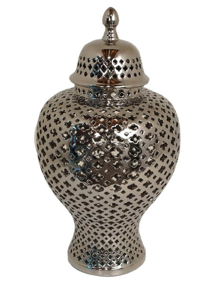 "13"" Pierced Temple Jar, Silver"