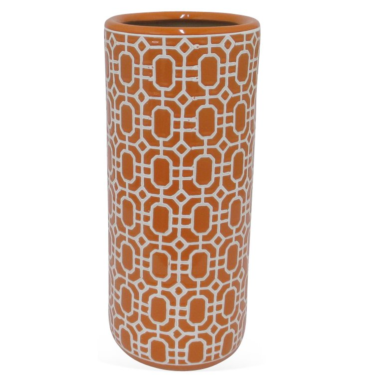 "18"" Ceramic Umbrella Stand, Orange"