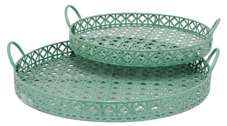 Asst. of 2 Metal Trays, Green
