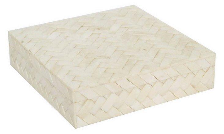 "10"" Bone-Tiled Chevron Box, White"