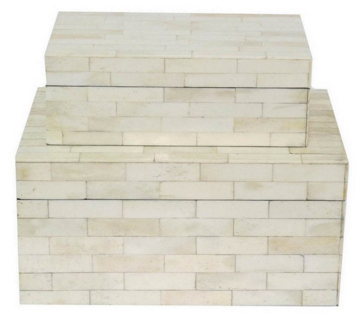 Asst. of 2 Tiled Boxes, White