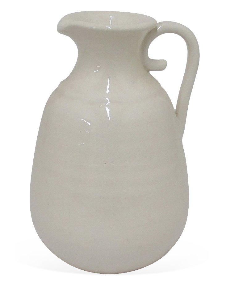 "13"" Ceramic Vase, White"