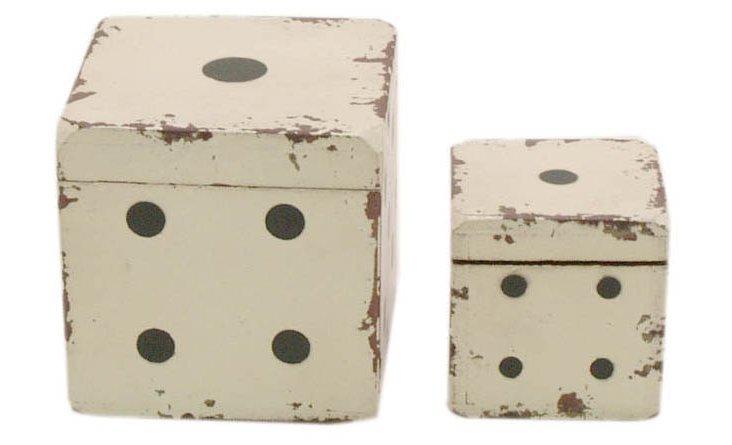 Asst. of 2 Wood Dice Box, White