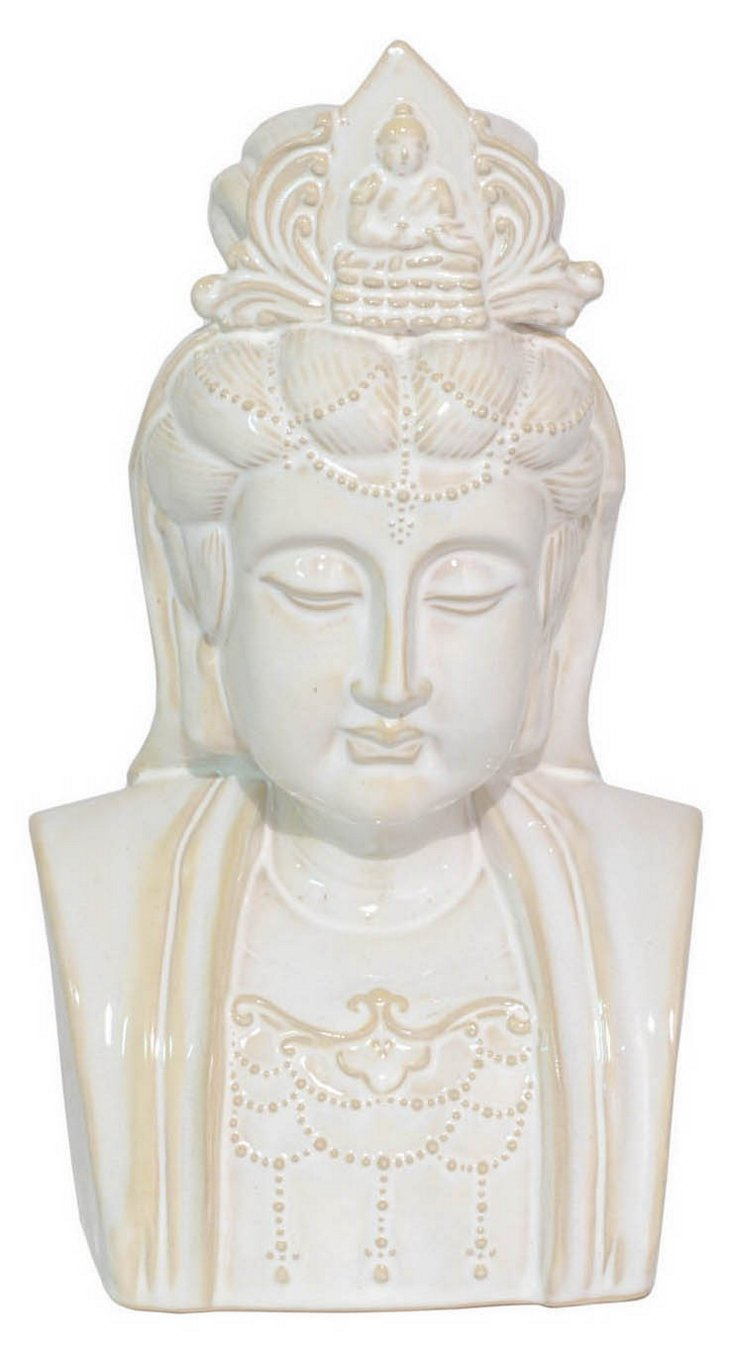 "12"" Ceramic Buddha Head, White"