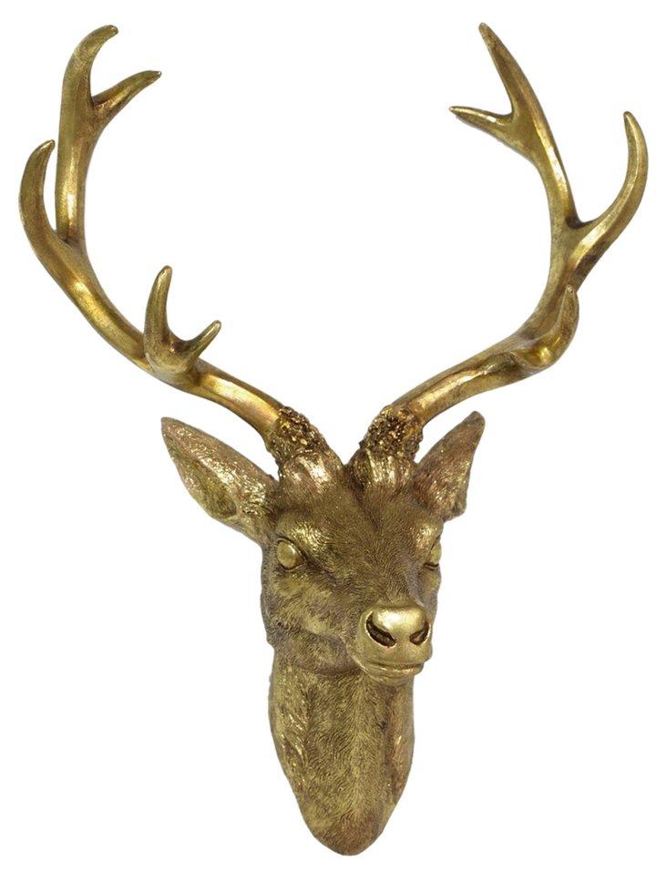 Deer Head Wall Decor, Gold