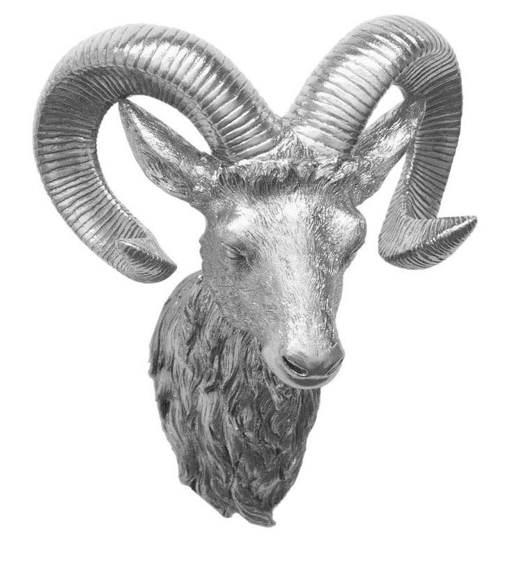 Ram Head Wall Decor, Silver