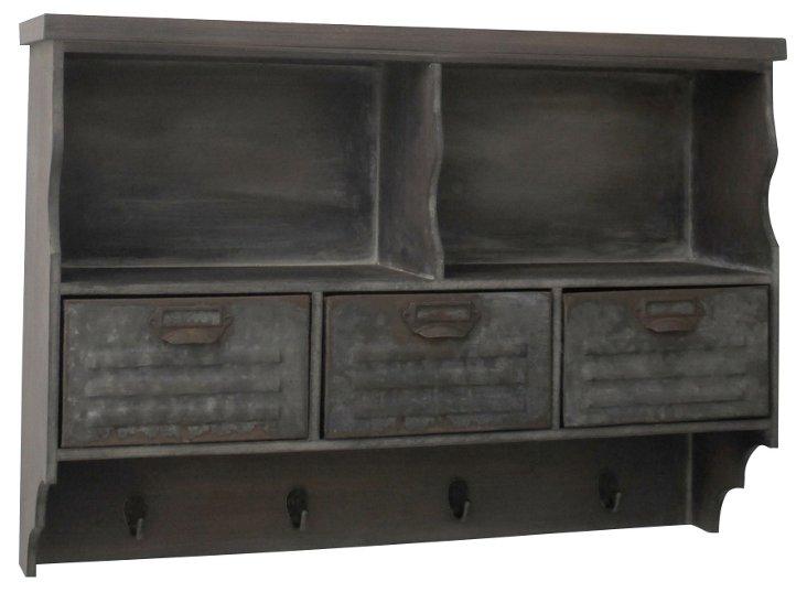 Wood Shelf w/ Drawers and Hooks