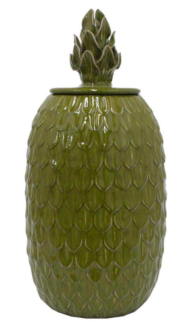 "17"" Ceramic Covered Jar, Green"