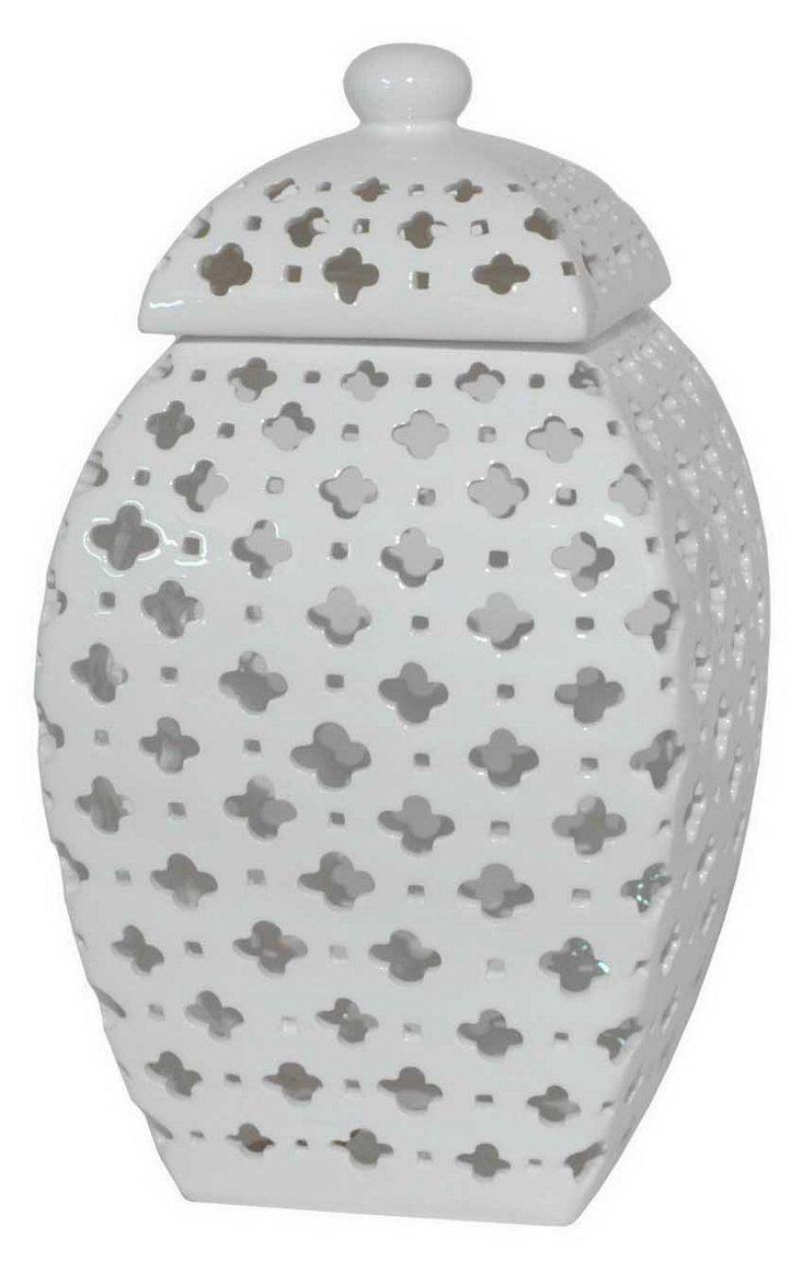 "15"" Ceramic Pierced Jar, White"