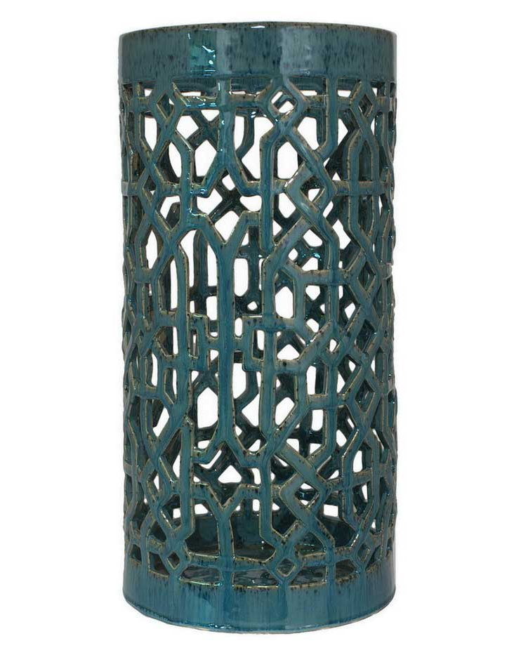 "23"" Ceramic Umbrella Stand, Blue"