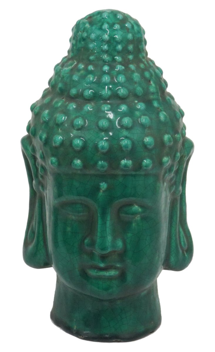 "14"" Terracotta Buddha Head, Green"