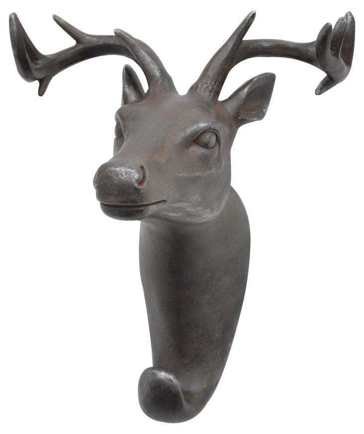 Deer Head Wall Hook, Gray