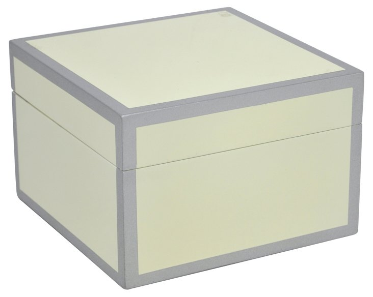 "8"" Wood Keepsake Box, Ivory"