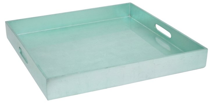 """18"""" Square Wood Tray, Blue"""