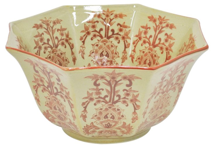 "11"" Floral Bowl, Yellow/Red"
