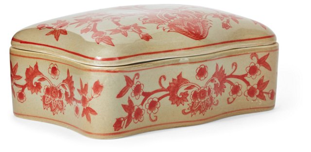 """8"""" Floral Box w/ Lid, Yellow/Red"""