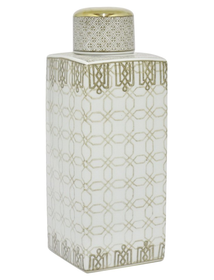 "17"" Ceramic Jar w/ Lid, Gold/White"