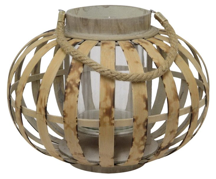 "16"" Oval Bamboo Lantern, Brown"