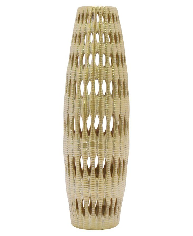 "17"" Cutwork Ceramic Vase, Gold"