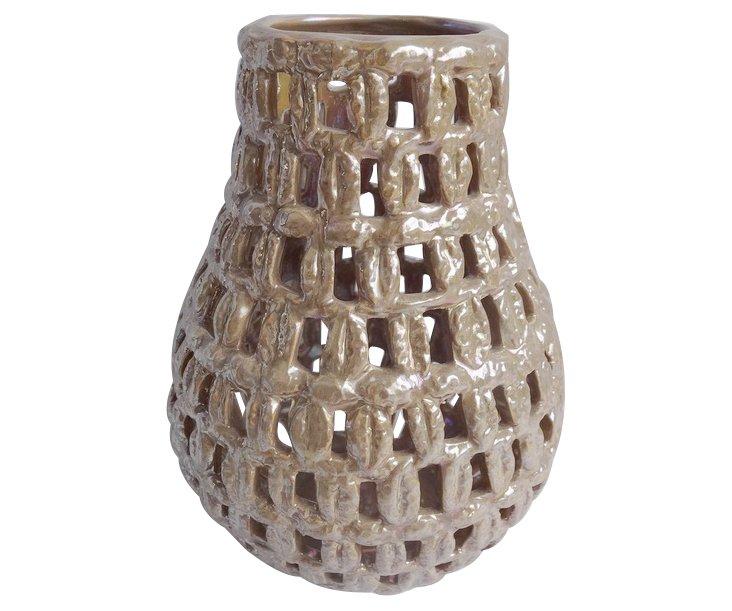 """8"""" Cutwork Ceramic Vase, Gold"""