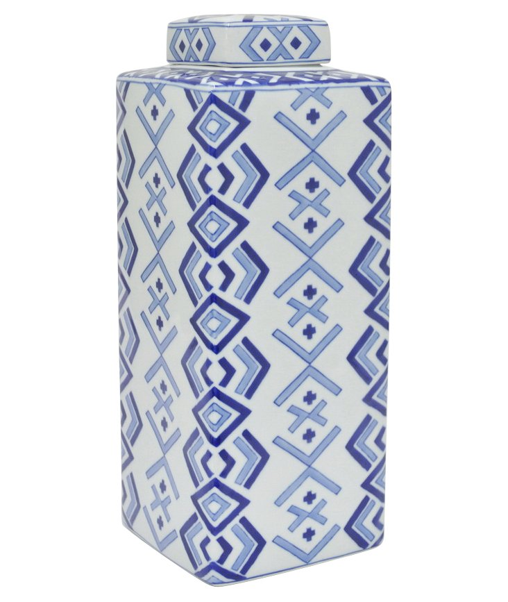 "16"" Crosshatch Jar, Blue/White"