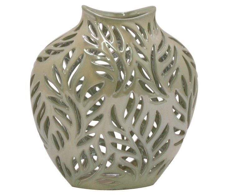 """10"""" Cutwork Fern Vase, Green"""