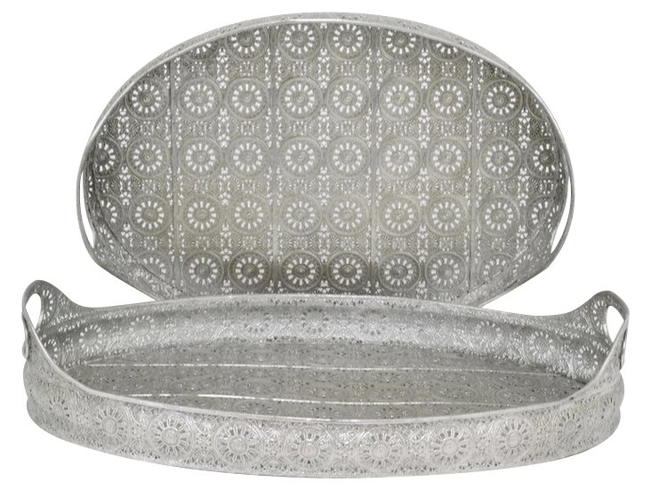 Asst. of 2 Fretwork Metal Trays, Silver