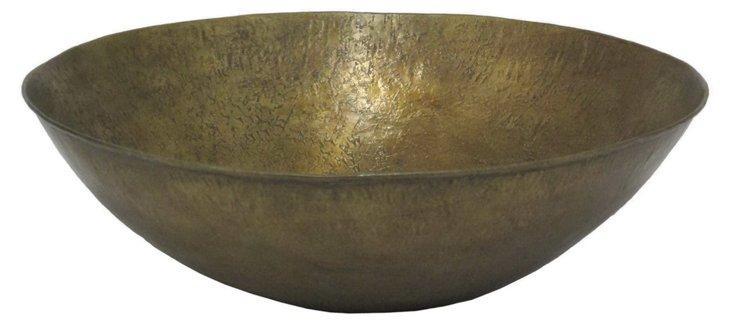 """14"""" Metal Bowl, Bronze"""