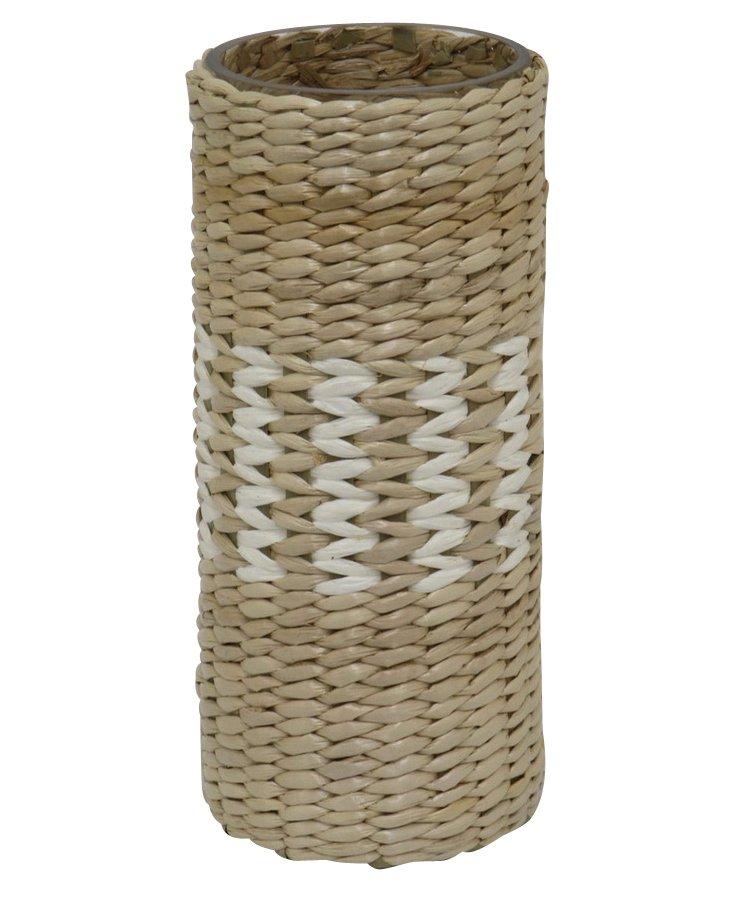 "10"" Woven Glass Vase, Tan"