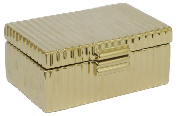 "10"" Ceramic Keepsake Box, Gold"