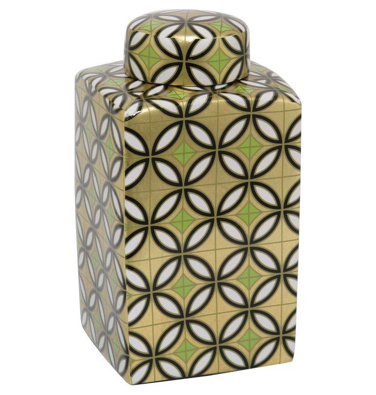 "11"" Geometric Print Square Jar, Gold"