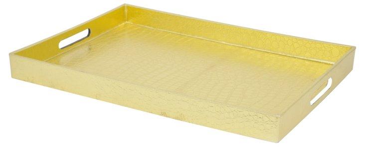 "19"" Faux-Crocodile Tray, Gold"