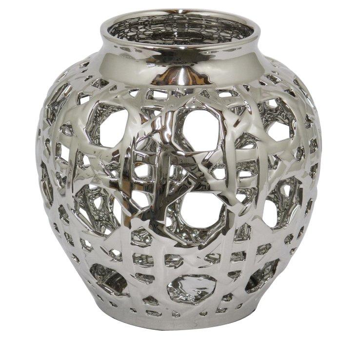 """9"""" Ceramic Vase, Silver"""