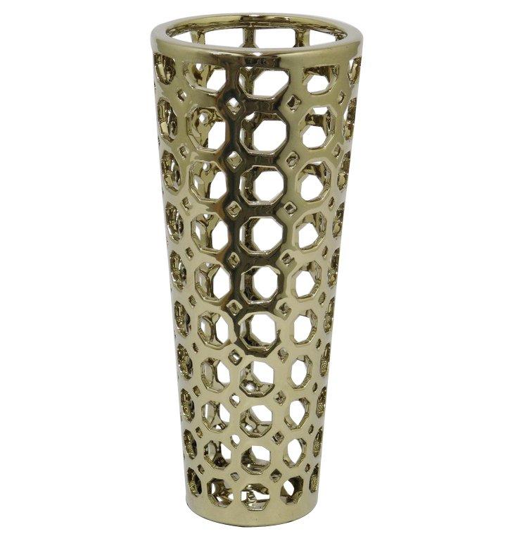 "12"" Ceramic Vase, Gold"