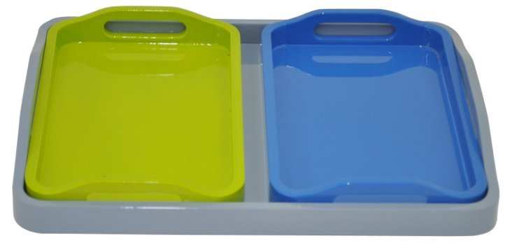 Asst. of 3 Colorful Trays, Green/Blue