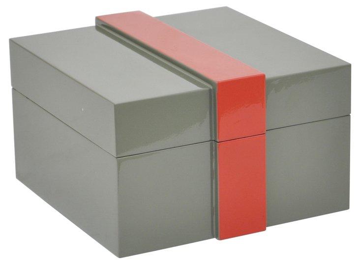 "8"" Chauncey Wood Box, Gray/Red"